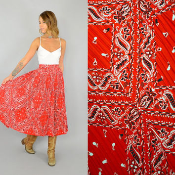 vtg 50's BANDANA PRINT bohemian americana western ACCORDION pleated Full Circle midi skirt, small