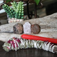 "Love Spell Set including Garnet, Rose Quartz, Carnelian, Homegrown Organic Sage Bundle w/ Roses & Rosemary, 4"" Red Candle for Pagan Ritual"