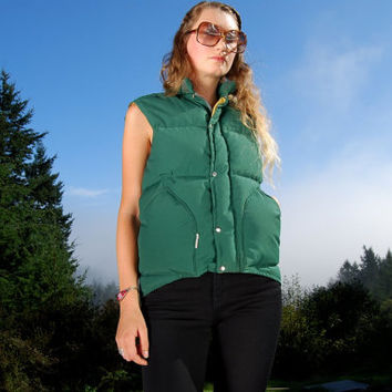 70's Green Puffy Vest Trailwise Berkeley Goose Down Vest XS / Mens Womens / Sleeveless Coat Jacket / Vintage Ski Vest Outdoors Hipster