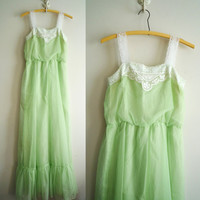 70s Green Dotted Swiss Maxi Dress Lace Details