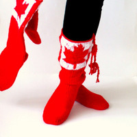 Red And White Canadian Pattern Long Slippers-Set of two-For Unisexs Adults and For Children