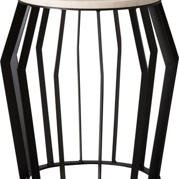 Large Billie Metal Stool/Table Powedercoated Black With A White Granite Top