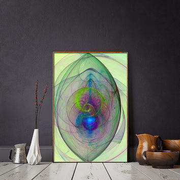 Bright Blue and Green Wall Art, Metamorphosis Nebula Poster | Printable Galactic Spirals Poster | Bohemian Abstract Home Decor