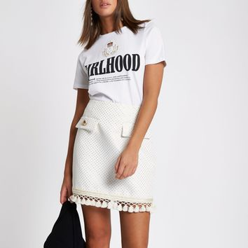 Cream fringe detail mini skirt - Mini Skirts - Skirts - women