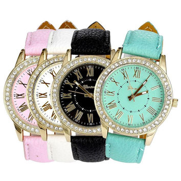 2017 Fashion Women's Leather Band Roman Dress Rhinestone Relogio Feminino Quartz Wrist Relojes Lady Dress Clocks Reloj Mujer
