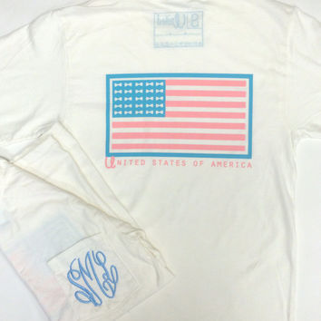 Monogrammed Pocket Tshirt with American Flag Bow Tie Back