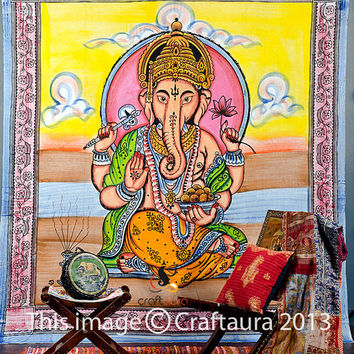 Beautiful Ganesh Tapestry, Hippie Indian Tapestry, Cotton Ganesha Bed Cover, Bohemian Wall Hanging, Indian Wall Hanging, Ganesh Wall Hanging