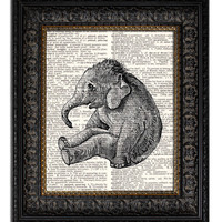 BABY ELEPHANT Dictionary Art Print