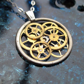 "Gear Necklace ""Syndrome"" Recycled Mechanical Watch Gears and Intricate Sculpture Wearable Art Not Quite Steampunk Assembly Necklace"