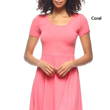 * Fit & Flare Dress In Coral