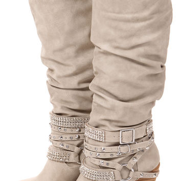 Cream Tall Strappy Studded Boot