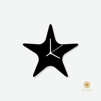 Starfish Silhouette Nursery Wall Clock for Kids Room Decor, Gift for Children