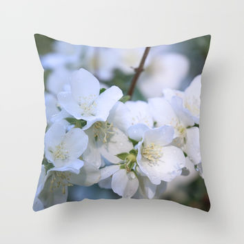 Hawthorne Flowers After Rain Throw Pillow by Theresa Campbell D'August Art