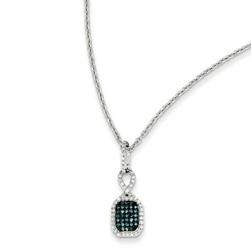 Blue & White Diamond Small Rectangle Necklace in Sterling Silver