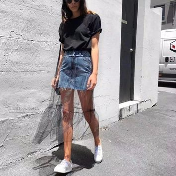 BKLD 2018 Summer New Jeans Skirt Women High Waist Lace Patchwork Two Layer Denim Skirts Female Casual A-line Harajuku Skirt