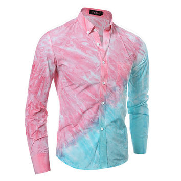 3D Long Sleeve High Quality Mosaic Print Men Casual Blouse =