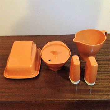 Vintage 1970s Bessemer Orange Table Condiments Set - Butter / Cheese Dish, Milk Jug, Sugar Bowel, Salt and Pepper Shakers / Retro Serving