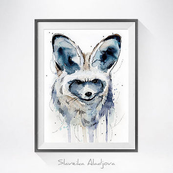 Original Watercolour Painting- Bat-eared fox art, animal, illustration, animal watercolor, animals paintings, animals, portrait,