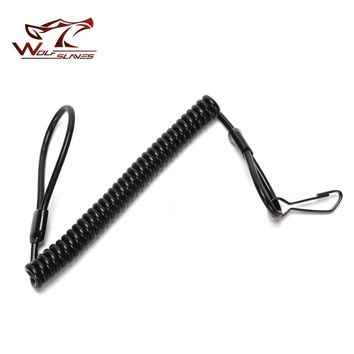 Tactical Pistol Handgun Elastic Spring Lanyard Sling with Metal Buckle for Duty Belt Molle Military Combat Single Point