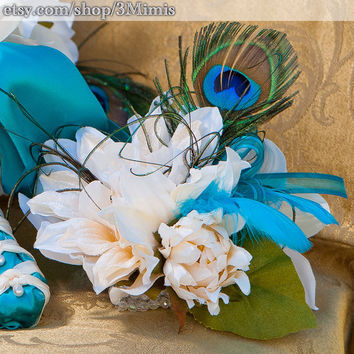 Peacock Feather Wedding Wrist Corsage Prom Homecoming Wrist Bouquet