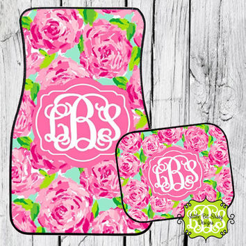 Car Mats Chevron Personalized Monogrammed Floor Car Mat Initial Lilly Pulitzer Inpiration Pink Roses