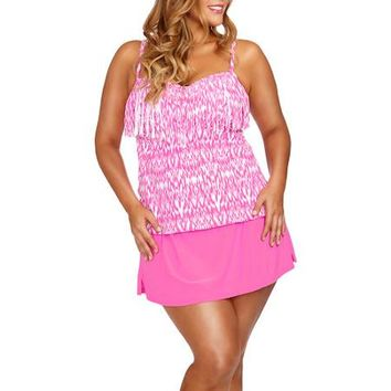 6bd9d0eb214 Collections by Catalina Women s Plus-Size Fringe Bandeau Tankini Top With  Bra Cups - W