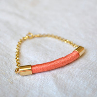 rope bracelet // ELIXIR // coral by GOLDhearted on Etsy