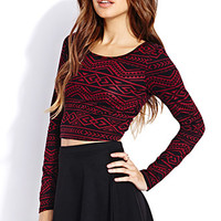 FOREVER 21 Globetrotter Crop Top Burgundy/Black Small