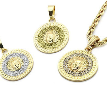 "Medusa Gold Plated Greek 24"" Rope Chain Pendant Necklace"
