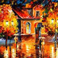 "Rain Impression — PALETTE KNIFE Oil Painting On Canvas By Leonid Afremov - Size: 30"" x 36"" (60cm x 75cm) from afremov art"