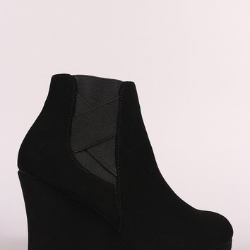 Nubuck Crisscross Chelsea Wedge Booties