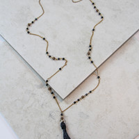 Small Beaded and Tassel Necklace in Black