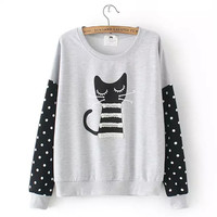 Block Dotted Cat Print Sweater