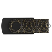 Gold floral pattern,art nouveau,vintage,chic,paris swivel USB 2.0 flash drive