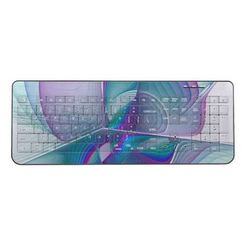 Colorful Modern Pink Blue Turquoise Fractal Art Wireless Keyboard