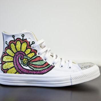 Trainers- White high top customised converses with varried swarovski crystals brightly
