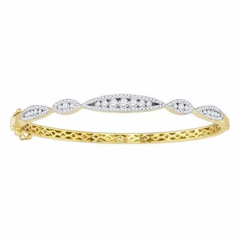 10kt Yellow Gold Women's Round Diamond Bangle Bracelet 1.00 Cttw - FREE Shipping (US/CAN)