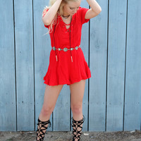 Lace Me Up Red Romper