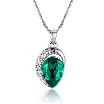 Moonlight Teardrop Swarovski Elements Crystal Pendant Necklace - Green