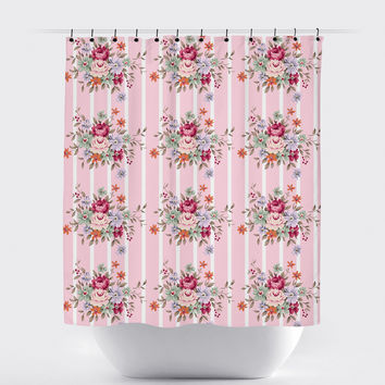 Pink Striped Shabby Chic Floral Shower Curtain