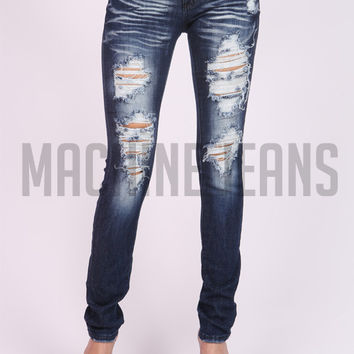 (amb) Dark stone washed destroyed skinny jeans
