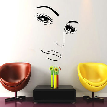 Makeup Wall Decal Vinyl Sticker Decals Home Decor Mural Make Up Girl Eyes Woman Fashion Cosmetic Hairdressing Hair Beauty Salon Decor SV6035