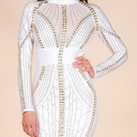 Callie- Studded Long Sleeve Bandage Dress