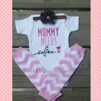 Mommy Needs Coffee Onesuit - Shirt - Baby Shower Funny Onesuit Gift - Customized - Starbucks - Latte - Baby Girl or Baby Boy - Coffee Shirt