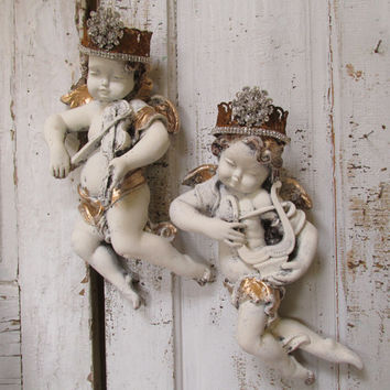 Distressed cherub statues wall decor handmade metal ornate crowns hand painted Large Shabby French chalkware sculptures anita spero