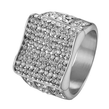 Stainless Steel Pinky Ring Mens Hip Hop Bling Silver Tone Iced Out Wedding New