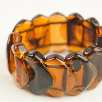 Stunning Art Deco Resin Amber Tortoise Shell Effect Bangle Perfect Condition Vintage