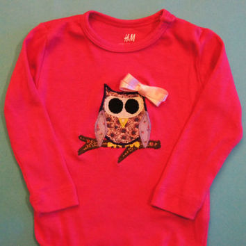 Owl Onesuit, Applique Girl Bodysuit, Pink One Piece