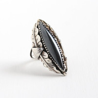Vintage Sterling Silver Hematite Ring - Size 7 Southwestern Native American Style Marquise Gray Stone Leaf Motif Statement Navette Jewelry