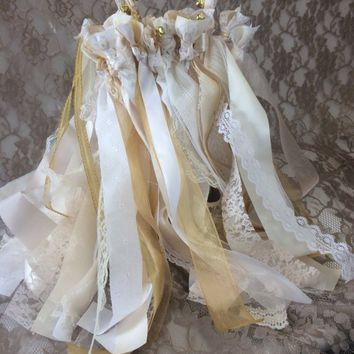 100 Wedding favors, ribbon wands with bells, boho party streamers, ceremony exit, rustic chic reception decoration